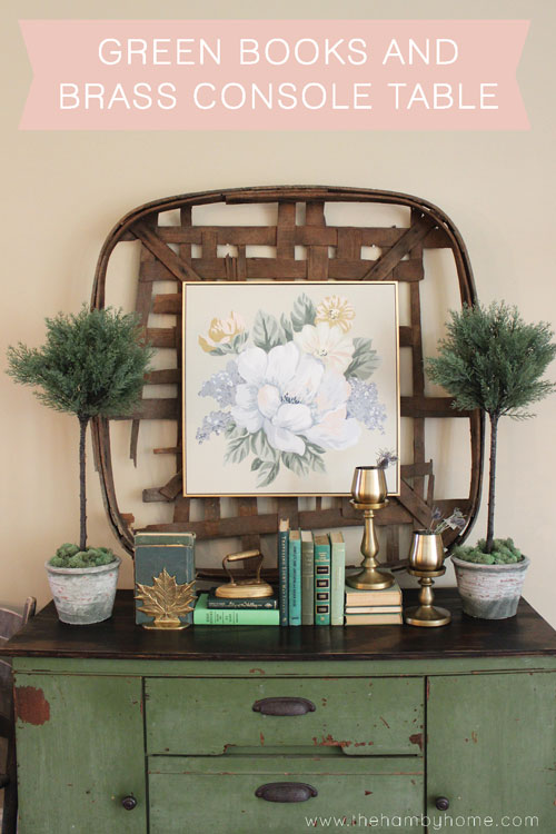Green Books And Brass Console Table
