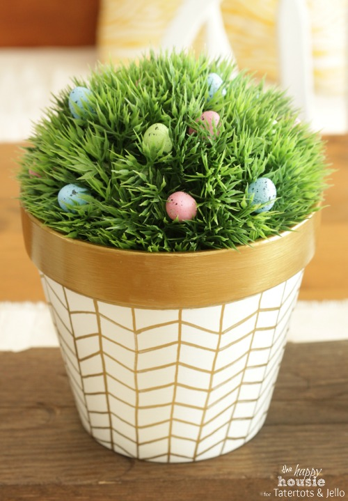 White and Gold Herringbone Pots for Spring 1 by the happy housie for tatertots and jello