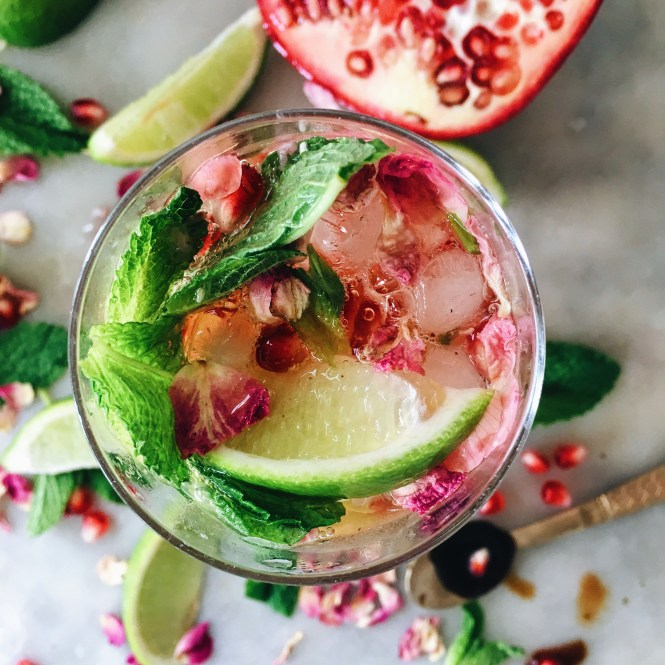 POMEGRANATE, MINT AND ROSE SPRITZ