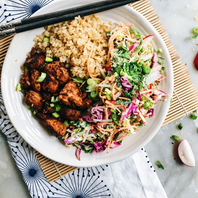YAKITORI CHICKEN BOWLS WITH JAPANESE SLAW