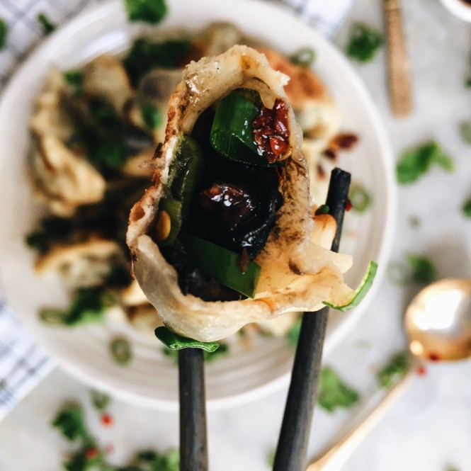 Mushroom and spring onion dumplings 5