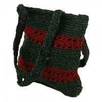 Green Red Closed Weave Hemp Shoulder Bag