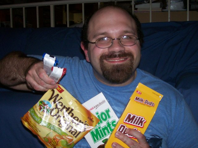 RJ with some birthday treats, including Milk Duds