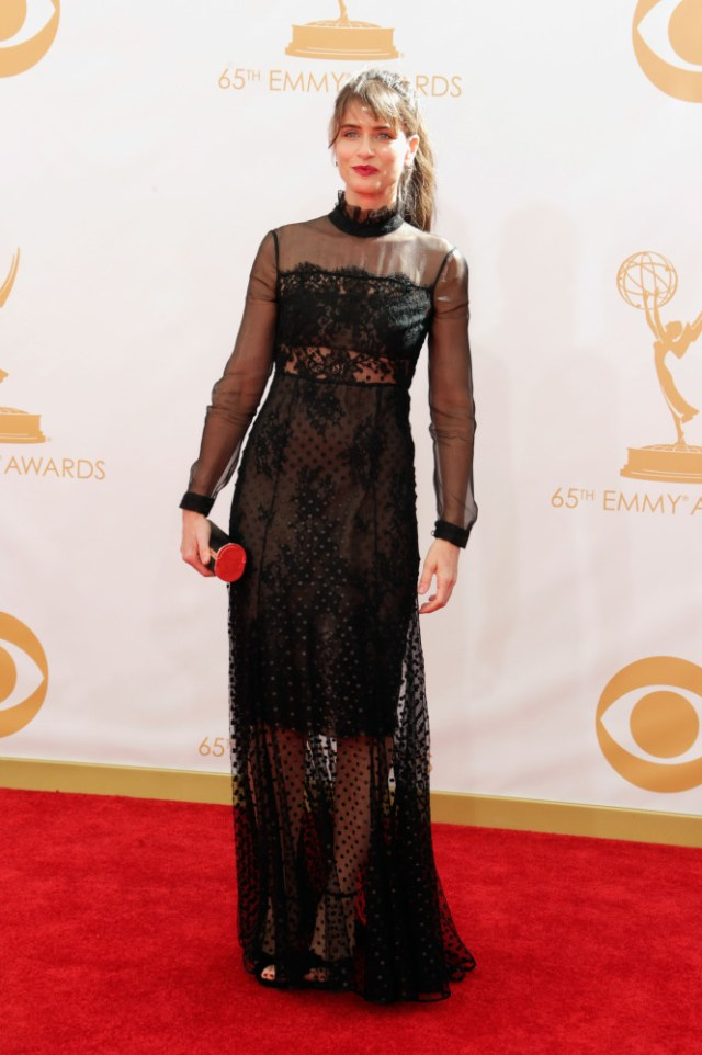 The He Said She Said Experience- Fashion Desk- 2013 Emmys- Amanda Peet in Erdem