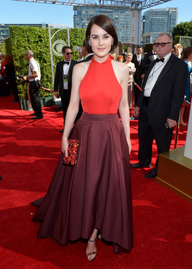 The He Said She Said Experience- Fashion Desk- 2013 Emmys-Michelle Dockery in Prada