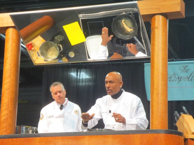 Montel Williams and Vice Chairman of the Joint Chiefs of Staff Admiral James A. Winnefeld Jr.  cooking up fish bacon. (It actually smelled really good)