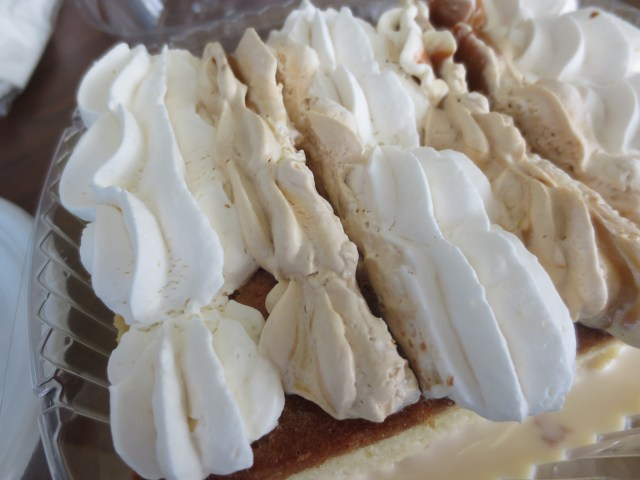The yummy frosting on the Vanilla Tres Leches Cake