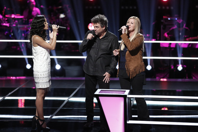 "THE VOICE -- ""Battle Rounds"" -- Pictured: (l-r) Amy Vachal, Jubal Lee Young, Amanda Preslar -- (Photo by: Tyler Golden/NBC)"