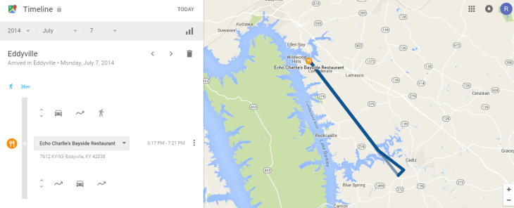 google timeline route