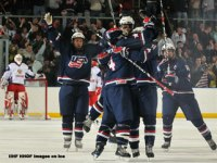 Under 18 USA Hockey Team Celebrates in Gold Medal Game Against Russians