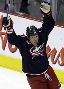 Columbus Blue Jackets' Raffi Torres celebrates his game-winning goal against the Nashville Predators during the third period of an NHL hockey game Tuesday, March 31, 2009, in Columbus, Ohio. The Blue Jackets beat the Predators 2-1. (AP Photo/Jay LaPrete)