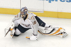 Nashville goaltender Pekka Rinne stopped 27 of 28 shots in game one. (Mark6Mauno/Flickr)