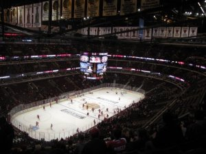 "The United Center, home of the Chicago Blackhawks, is home to the most famous performance of ""The Star Spangled Banner"" in the league. (Pam Rodriguez)"