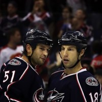 Defenseman Fedor Tyutin and forward RJ Umberger (Dave Gainer/THW)
