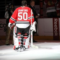 Corey Crawford honored as first star of the night Jan 9th vs NYI