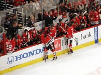 Chicago Blackhawks take their time out late in the 4/10/11 game vs Detroit (picture by Cheryl Adams)