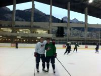 Nic Kerdiles (left) and Quentin Shore (right) pose for a picture at a rink in Switzerland at the Four Nations Tournament