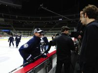Dan Bylsma and his players got used to having the HBO 24/7 crew around (Tom Turk/THW)