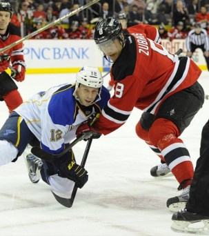 Scott Nichol and New Jersey Devils right wing Dainius Zubrus
