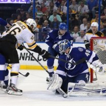 David Krejci and goalie Dustin Tokarski