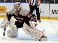 Anders Nilsson and Kevin Poulin might be the future of the Islanders in goal, but are they ready to step into NHL action just yet? (Anthony Gruppuso-US PRESSWIRE)