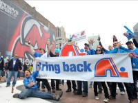 Nordiques fans have shown up at NHL rinks asking for a team to return to Quebec (Ed Mulholland-US PRESSWIRE)