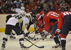 The Washington Capitals and Pittsburgh Penguins at the Verizon Center on Super Sunday, 2013. (Tom Turk/THW)