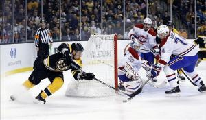Brad Marchand defended by Montreal Canadiens defenseman Alexei Emelin