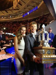 Sergei Bobrovsky and wife Olga display the Vezina.  Photo courtesy Columbus Blue Jackets