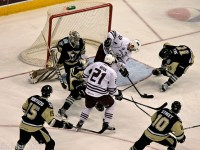 Graham Mink looks to score for the Hershey Bears against the Wilkes-Barre/Scranton Penguins.