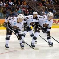 Hershey Bears Dmitry Orlov, Nicolas Deschamps and Cameron Schilling. (Annie Erling Gofus/The Hockey Writers)