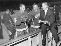 Sid Abel with his two star forwards, Gord Howe and Alex Delvecchio