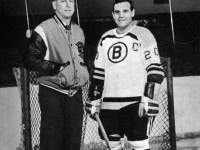 Bruins' captain Leo Boivin with coach Milt Schmidt