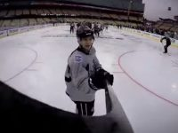 NHL goaltenders donned helmet cameras for the 2014 Stadium Series games