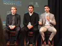 Patrick Kane, Anze Kopitar, and Patrice Bergeron sit in on the announcement of 2016's World Cup of Hockey. (Credit: Alex Busch/Staff)