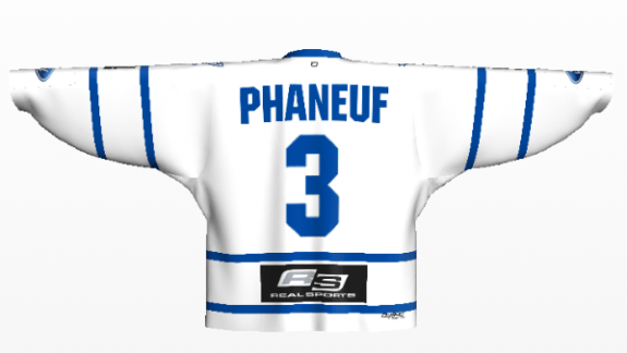 phaneuf white front phaneuf white arm logos leafs away back logos on 720ae3b94