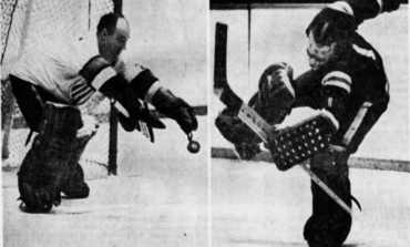 AHL goalies Bob Perreault (left) of Rochester and Gary Bauman of Quebec had busy weekends.