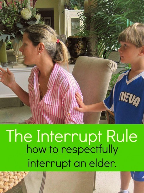 The Interrupt Rule - How your child can show respect and honor to their elders through a simple rule.  {the House of Hendrix}