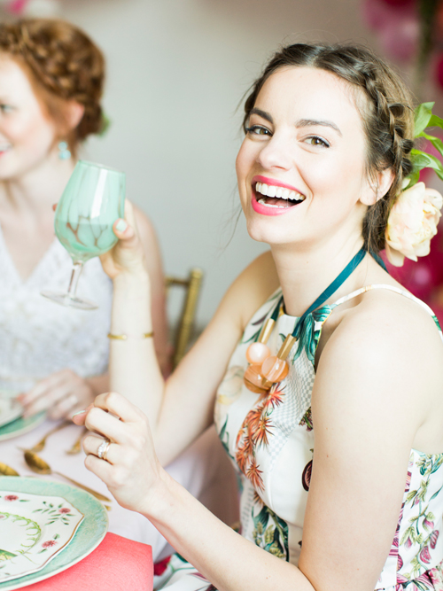 Flamingo Pop. A bridal collaboration with BHLDN and The House That Lars Built.. Goblets and dinnerware from Anthro. Top and jewelry from Anthro. Photo by Jessica Peterson.