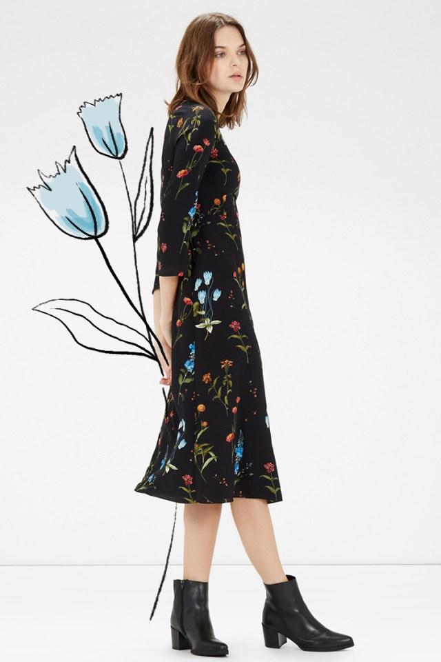 70s floral on black dress