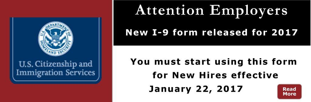 New I-9 Must be used as of January 22, 2017