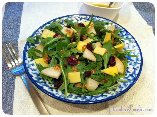smoky sweet fall salad arugula gouda