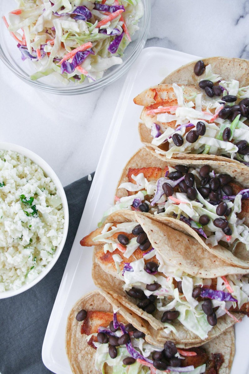 Fish Tacos with Cilantro-Lime Cauliflower Rice
