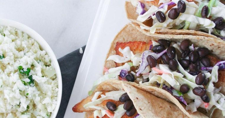 Fish Tacos with Cilantro-Lime Cauliflower Rice