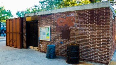 Despite power washing, graffiti mars dilapidated restrooms in Big Bush Park, Woodside. The park hasn't been renovated since the '80s.