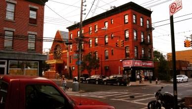 Red Hook's Van Brunt Street at sunset