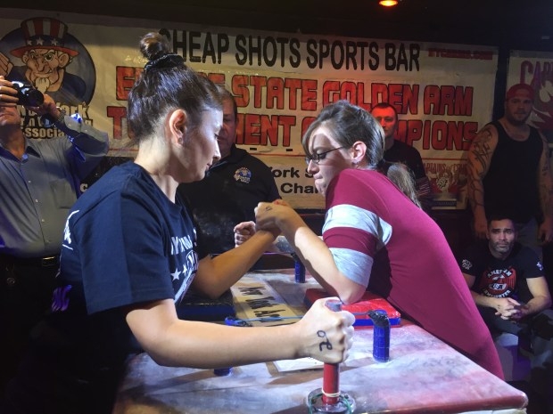 "Men weren't the only competitors at Sunday's tournament. Women also got to test their armwrestling skills to become ""New York's Strongest Arm."""