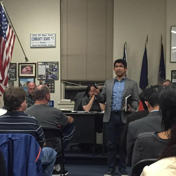 Carlos Menchaca speaks at a Community Board 7 meeting in Sunset Park. (Natasa Bansagi/The Ink)