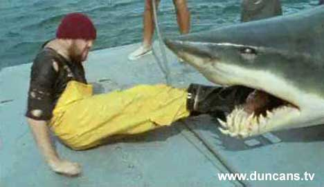 Fisherman crawls out of shark for John West TV Ad