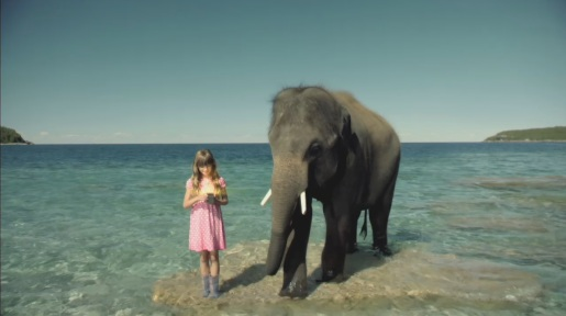 Girl and elephant stand in sea